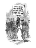 Man on the street carries a sign that reads, 'Your Dire Prediction in this… - New Yorker Cartoon Premium Giclee Print by Robert Weber