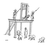 Football players waiting under guillotine; they are going to use the conde… - New Yorker Cartoon Premium Giclee Print by George Booth