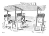 Toll booth attendant at toll booth with taped up sign reading, 'Kissing Bo… - New Yorker Cartoon Premium Giclee Print by Zachary Kanin