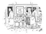 Woman on the subway with a man inside a large pet carrier.  - New Yorker Cartoon Giclee Print by Glen Le Lievre