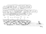 "A flock of sheep stands looking toward a dog who is evidently herding them…"" - New Yorker Cartoon Premium Giclee Print by Anthony Taber"