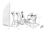 Little girl on a headless horse with a gangster right next to her. - New Yorker Cartoon Premium Giclee Print by Glen Le Lievre
