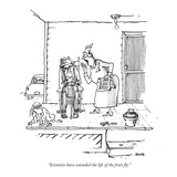 """Scientists have extended the life of the fruit fly."" - New Yorker Cartoon Premium Giclee Print by George Booth"