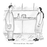 """We're in our lab coats.  Now what"" - New Yorker Cartoon Premium Giclee Print by Victoria Roberts"