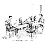 """It helps if you think of it as a turkey."" - New Yorker Cartoon Premium Giclee Print by Julia Suits"