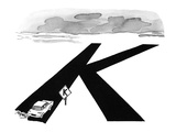 Car comes to a road sign that has its intersection symbol shaped like a 'K… - New Yorker Cartoon Premium Giclee Print by Peter Porges