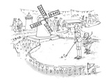 Don Quixote, with Sancho Panza in attendance, prepares to putt through a w… - New Yorker Cartoon Premium Giclee Print by Bill Woodman