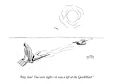 """Hey, hon!  You were right—it was a left at the QuickMart."" - New Yorker Cartoon Giclee Print by Julia Suits"