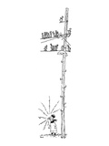 A boy blows a whistle at the foot of a telephone pole filled with birds - New Yorker Cartoon Premium Giclee Print by George Booth