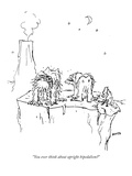 """You ever think about upright bipedalism"" - New Yorker Cartoon Premium Giclee Print by George Booth"