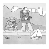 Rich man and poor man sit by the fountain with remote control boats. the r… - New Yorker Cartoon Premium Giclee Print by Gahan Wilson