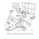 """Alright, now see what happens when you turn the faucet off."" - New Yorker Cartoon Premium Giclee Print by Zachary Kanin"