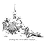 """One thing about Earl—Earl knows when to fold."" - New Yorker Cartoon Premium Giclee Print by George Booth"