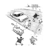 "Road sign reads: ""Geezer Crossing"" as elderly men and a dog scramble acros… - New Yorker Cartoon Premium Giclee Print by George Booth"