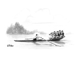 A man rows a boat by himself; there are six people in the boat with him wi… - New Yorker Cartoon Premium Giclee Print by Warren Miller