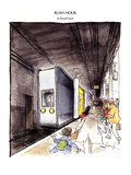 RUSH HOUR - New Yorker Cartoon Premium Giclee Print by Ronald Searle