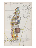 Drawing of male figure in baseball attire on calendar page. - New Yorker Cartoon Regular Giclee Print by Saul Steinberg