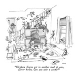 """Glendora Hagan got in another load of cats, Elinor honey.  Can you take a…"" - New Yorker Cartoon Premium Giclee Print by George Booth"