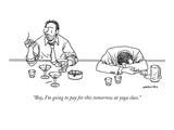 """Boy, I'm going to pay for this tomorrow at yoga class."" - New Yorker Cartoon Premium Giclee Print by Alex Gregory"