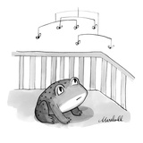 A baby frog gazes up at a mobile with flies attached. - New Yorker Cartoon Premium Giclee Print by Marshall Hopkins
