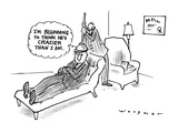 "Man on a psychiatrists couch with psychiatrist holding a plunger on the pa…"" - New Yorker Cartoon Premium Giclee Print by Bill Woodman"