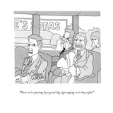 """""""Now we're passing by a great big sign urging us to buy sofas!"""" - New Yorker Cartoon Giclee Print by Gahan Wilson"""
