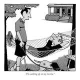 """I'm catching up on my inertia."" - New Yorker Cartoon Premium Giclee Print by William Haefeli"