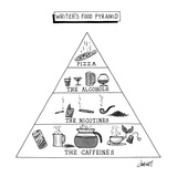 "Nutritional chart that contains levels for ""Pizza, The Alcohols, the Nicot…"" - New Yorker Cartoon Premium Giclee Print by Tom Cheney"