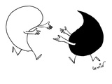 Yin and Yang symbols run toward each other with arms extended. - New Yorker Cartoon Premium Giclee Print by Arnie Levin