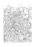 Room filled with plants, with man sitting in thier midst, woman in door wi… - New Yorker Cartoon Premium Giclee Print by Ed Arno