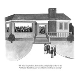 """We tried six speakers, then twelve, and finally we put in the Pittsburgh …"" - New Yorker Cartoon Premium Giclee Print by J.B. Handelsman"
