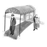 Man holding sign, 'Help  Pay my Mini-bar Bill', in front of hotel. - New Yorker Cartoon Premium Giclee Print by Marshall Hopkins