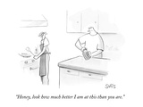 """Honey, look how much better I am at this than you are."" - New Yorker Cartoon Premium Giclee Print by Julia Suits"