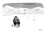 Man ice fishing, waits for fish to bite while other fish are jumping out o… - New Yorker Cartoon Premium Giclee Print by Harry Bliss
