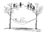 A man reads newspapers in a hammock and notices that six vultures or buzza… - New Yorker Cartoon Premium Giclee Print by Peter Porges