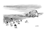 School bus coming out of the ocean as small children run away from it on t… - New Yorker Cartoon Premium Giclee Print by Jason Patterson
