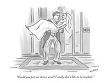 """Could you put me down now I really don't like to be touched."" - New Yorker Cartoon Premium Giclee Print by Kim Warp"