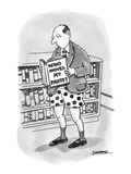 Man in a bookstore wearing only his underwear, reading a book titled, 'Who… - New Yorker Cartoon Premium Giclee Print by C. Covert Darbyshire