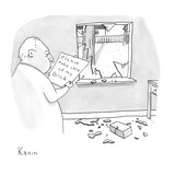 "A man reads a note ""Please take care of my brick"" which was attached to a … - New Yorker Cartoon Premium Giclee Print by Zachary Kanin"