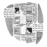 "Two dogs in different apartment windows barking at each other, ""You shut u…"" - New Yorker Cartoon Premium Giclee Print by Benita Epstein"