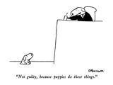 """Not guilty, because puppies do these things."" - New Yorker Cartoon Premium Giclee Print by Charles Barsotti"