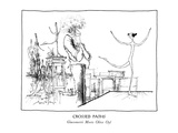 CROSSED PATHS-Giacometti Meets Olive Oyl - New Yorker Cartoon Premium Giclee Print by Ronald Searle