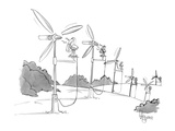 A line of windmills is powered by electric fans. - New Yorker Cartoon Premium Giclee Print by John Klossner