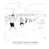 A line of mimes extends on a hilly landscape. - New Yorker Cartoon Premium Giclee Print by Paul Noth
