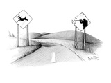 A sign of a deer crossing is running away from a sign of a hunter shooting… - New Yorker Cartoon Giclee Print by Julia Suits