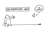 """How Boomerangs Work"" - New Yorker Cartoon Premium Giclee Print by Ariel Molvig"