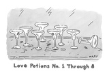"""Love Potions No. 1 Thru 8"". Eight empty margarita glasses. - New Yorker Cartoon Premium Giclee Print by Kim Warp"