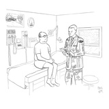 Man at doctor, Doctor is wearing suit with advertising on it. - New Yorker Cartoon Premium Giclee Print by Paul Noth