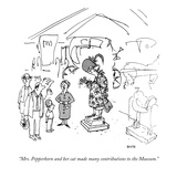 """Mrs. Pepperkorn and her cat made many contributions to the Museum."" - New Yorker Cartoon Premium Giclee Print by George Booth"