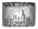 Investors attempting to lynch CEO after stockholders meeting. Banner over … - New Yorker Cartoon Premium Giclee Print by Jason Patterson